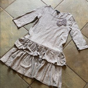 Gap kids gray ruffle dress size 6